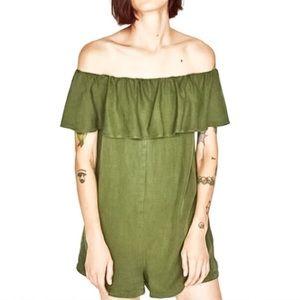 Zara Off Shoulder Linen Romper Jumpsuit